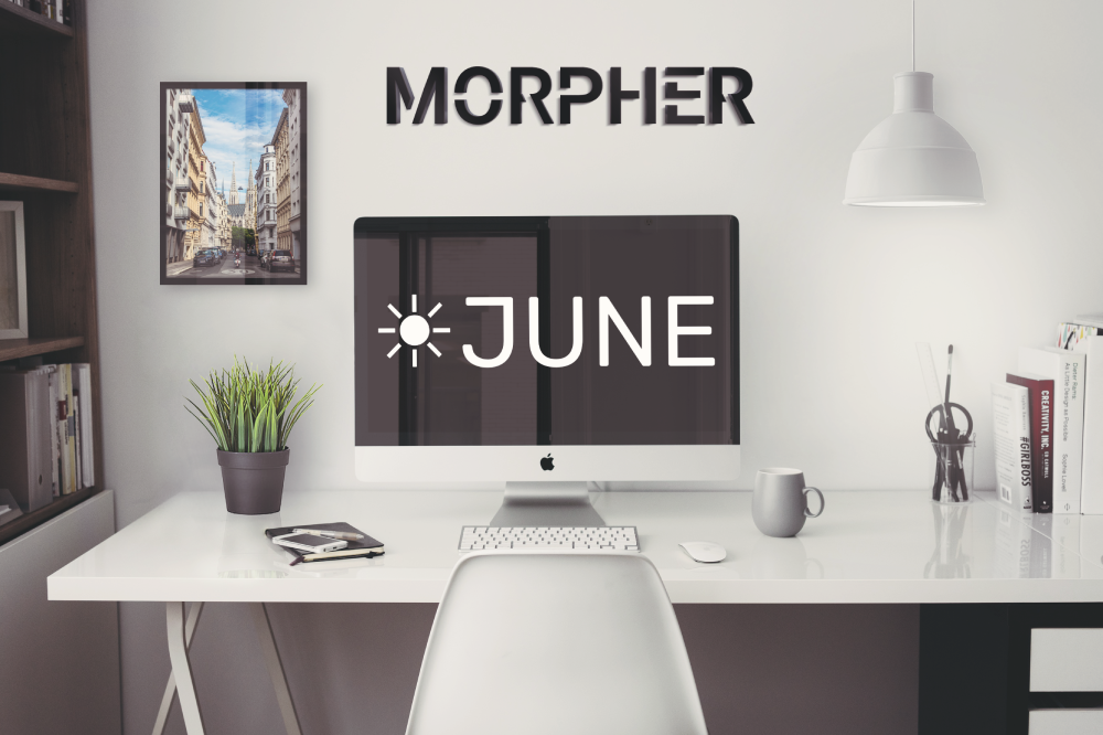 Morpher monthly June update with mockup image of office space.