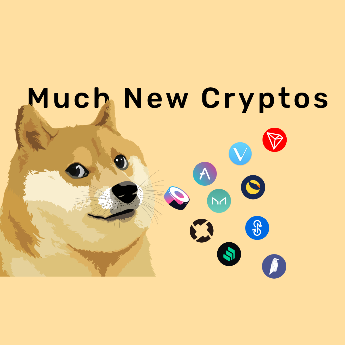 Doge among top crypto coins like TRON, YFI, MKR, & ZRX.