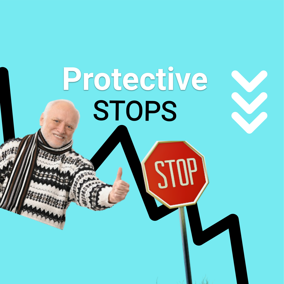 Protective stops: falling markets and stop sign.