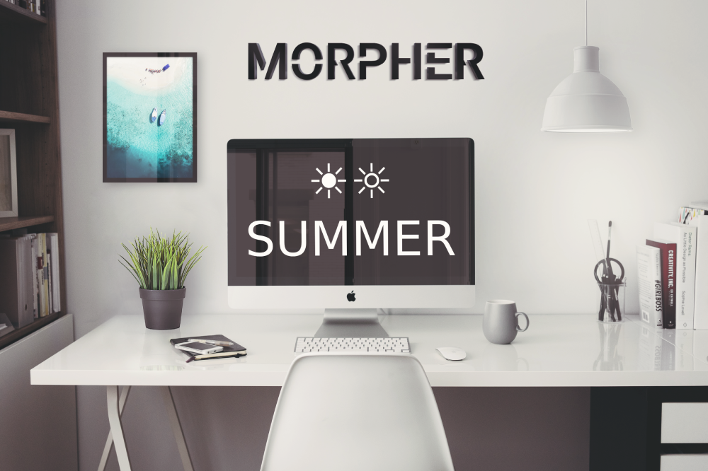 Morpher summer update with mockup image of office space.