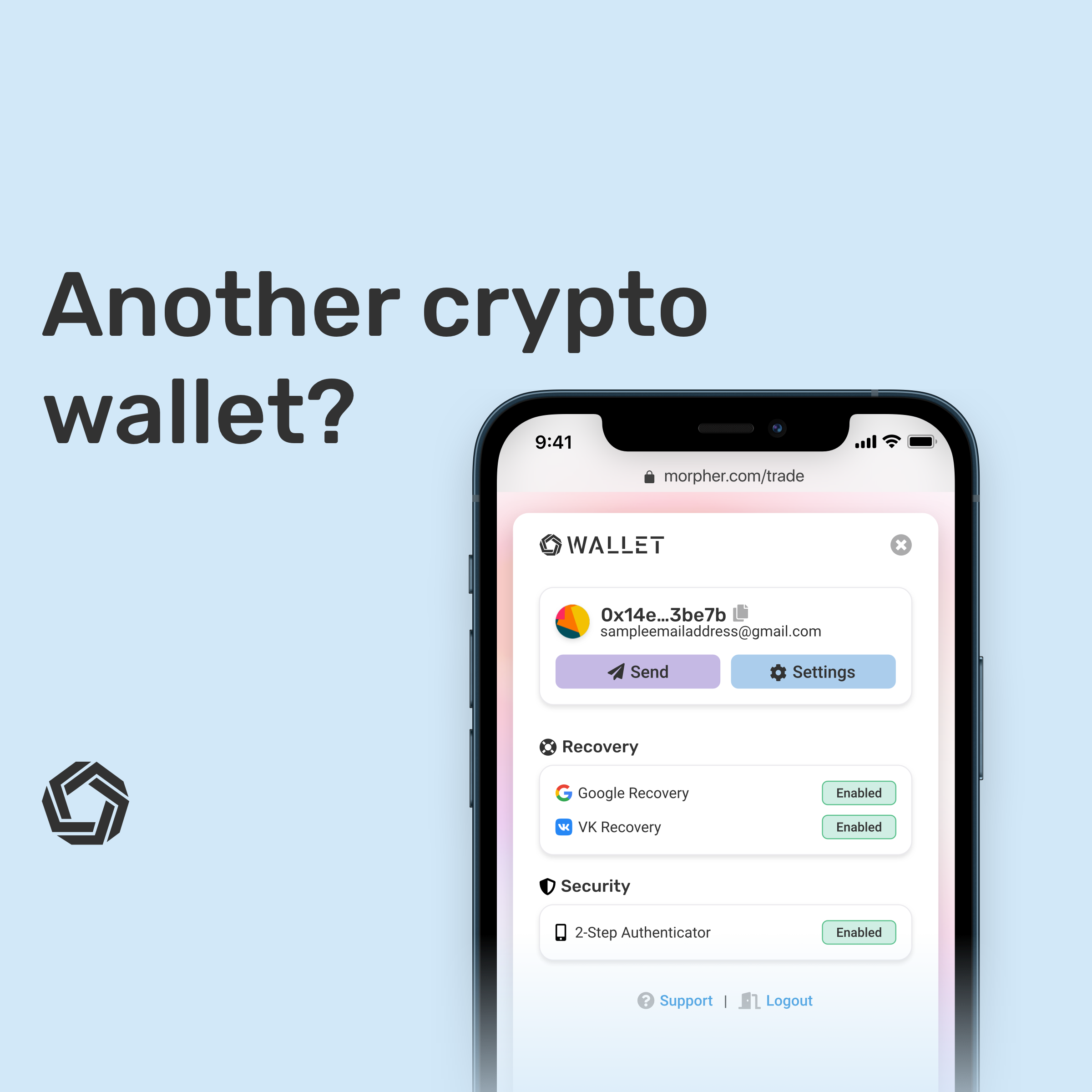 Morpher wallet on iPhone screenshot with recovery and security options. Another crypto wallet?