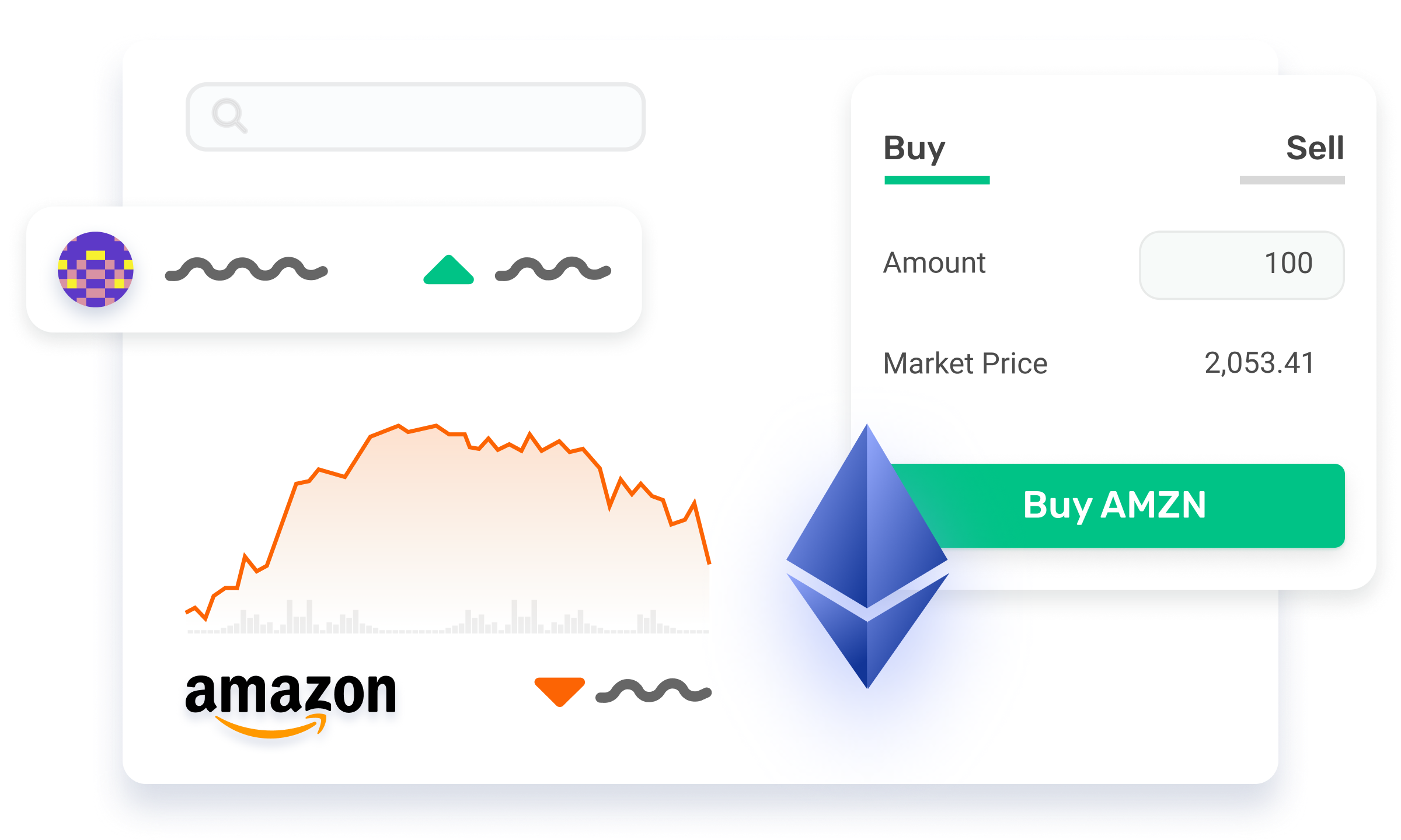 Morpher investment app mockup with focus on Amazon stock.